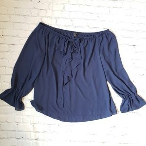 Sami & Jo XL Off the Shoulder Navy Top